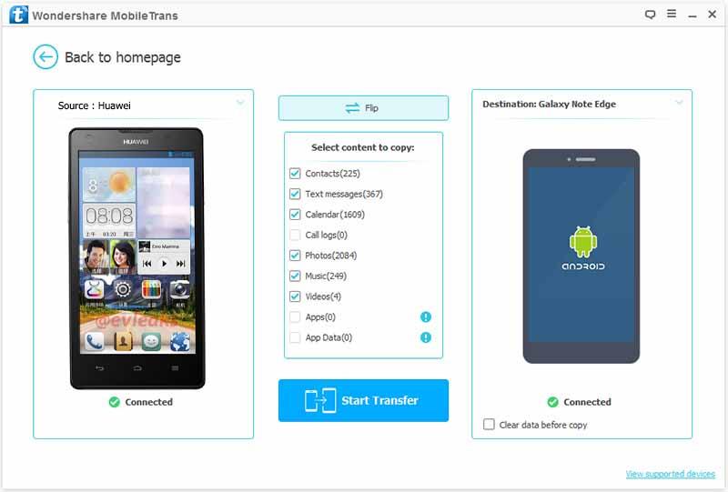 mobiletrans phone transfer-start transfer