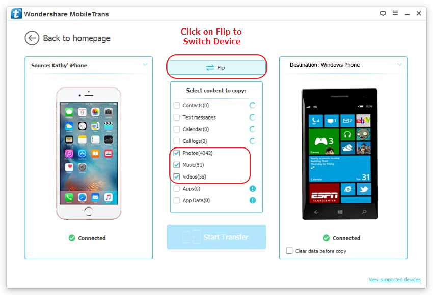 How to transfer Photos, Videos, Music files from iPhone to WinPhone - click Phone to Phone Transfer