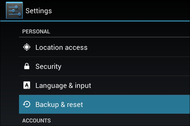 reset locked android without password-Backup and Reset
