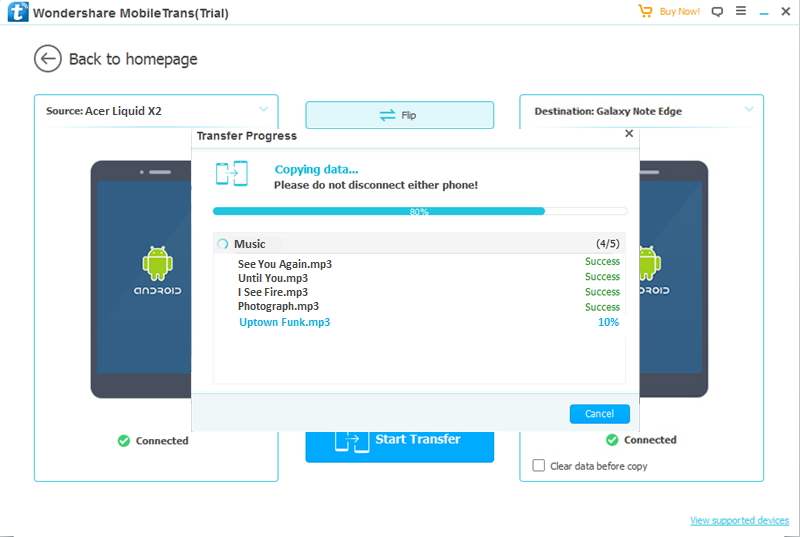 Transfer from Acer to Android-transfer data from Acer to other Android finished
