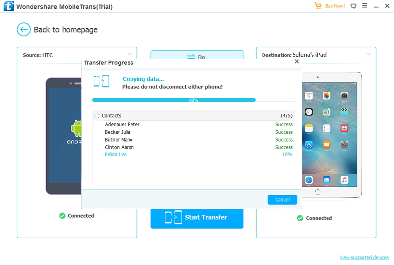 transfer data from HTC to iPad