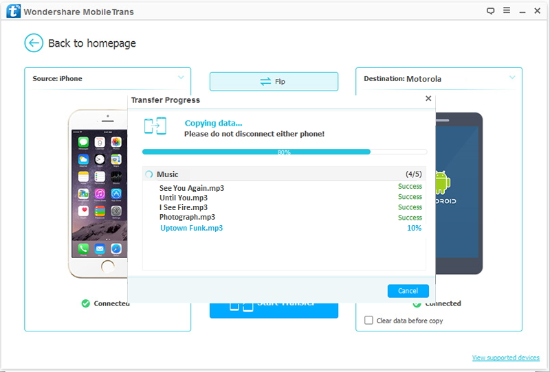 Transfer data from iOS devices to Motorola