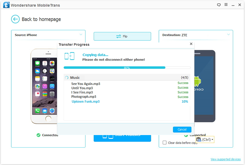 transfer data from iPhone to ZTE
