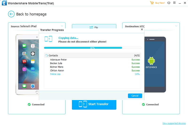 transfer data from iPad to HTC completed