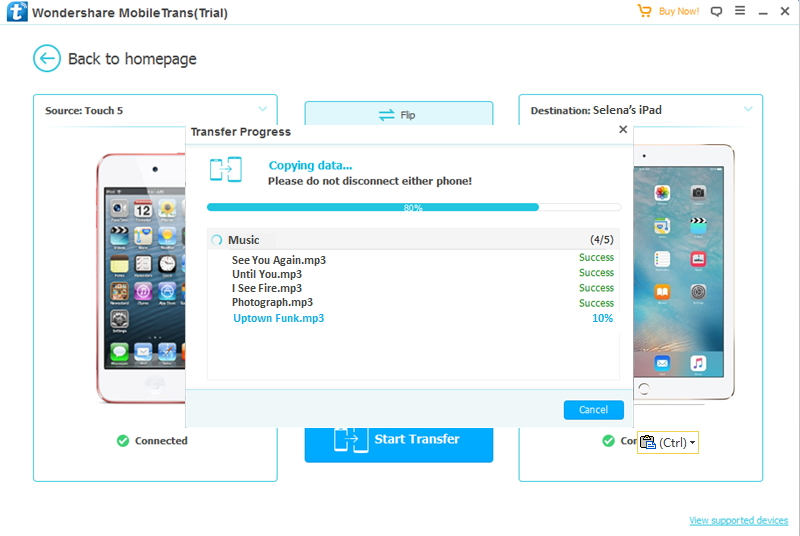 How to Transfer Music from iPod to iPad -Start Transfer