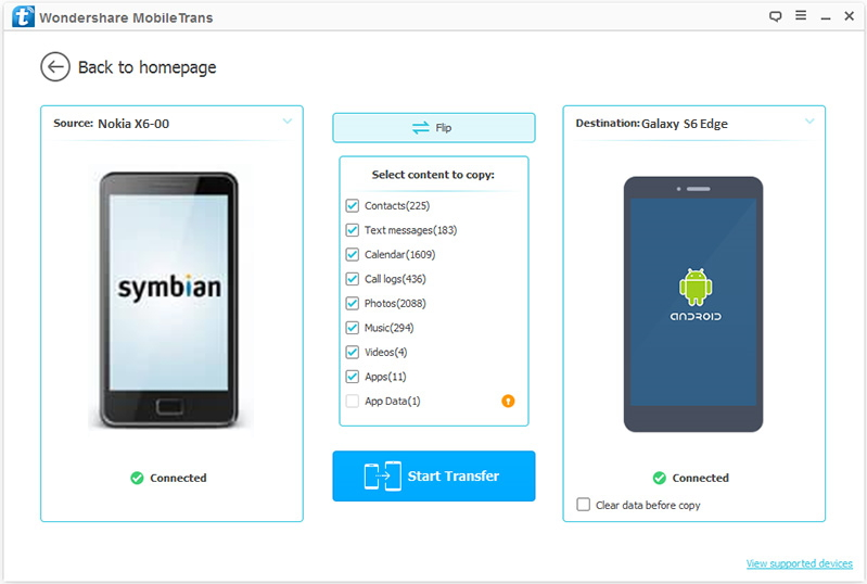 Symbian to Android-connect devices to transfer from Symbian to Android